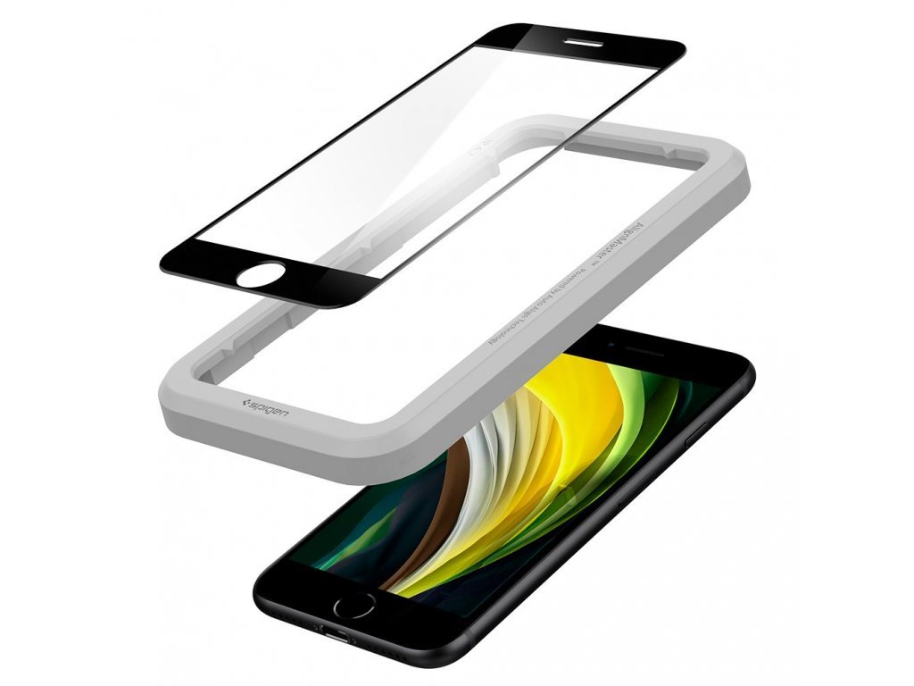 37997 ochranne tvrzene sklo pro iphone 7 8 se 2020 spigen alignmaster fc black s aplikatorem