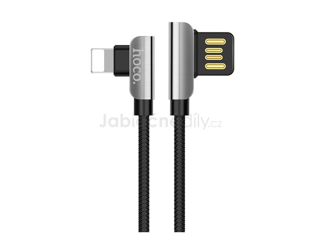 67748097110019Hoco U42 exquisite steel lightning charging data cable Black