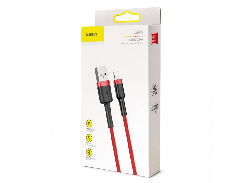 eng pl Baseus Cafule Cable Durable Nylon Braided Wire USB Lightning QC3 0 2A 3M red CALKLF R09 51803 9
