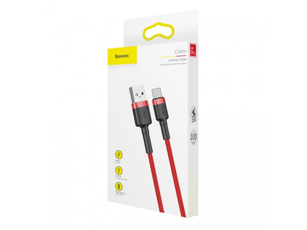 eng pl Baseus Cafule Cable Durable Nylon Braided Wire USB USB C QC3 0 3A 1M red CATKLF B09 46795 9