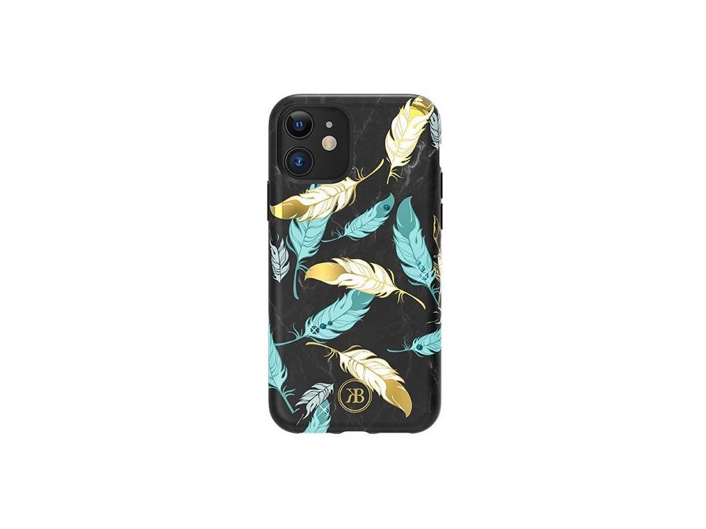 eng pl Kingxbar Forest glowing in the dark case decorated with original Swarovski crystals iPhone 11 multicolour Feather 62144 1