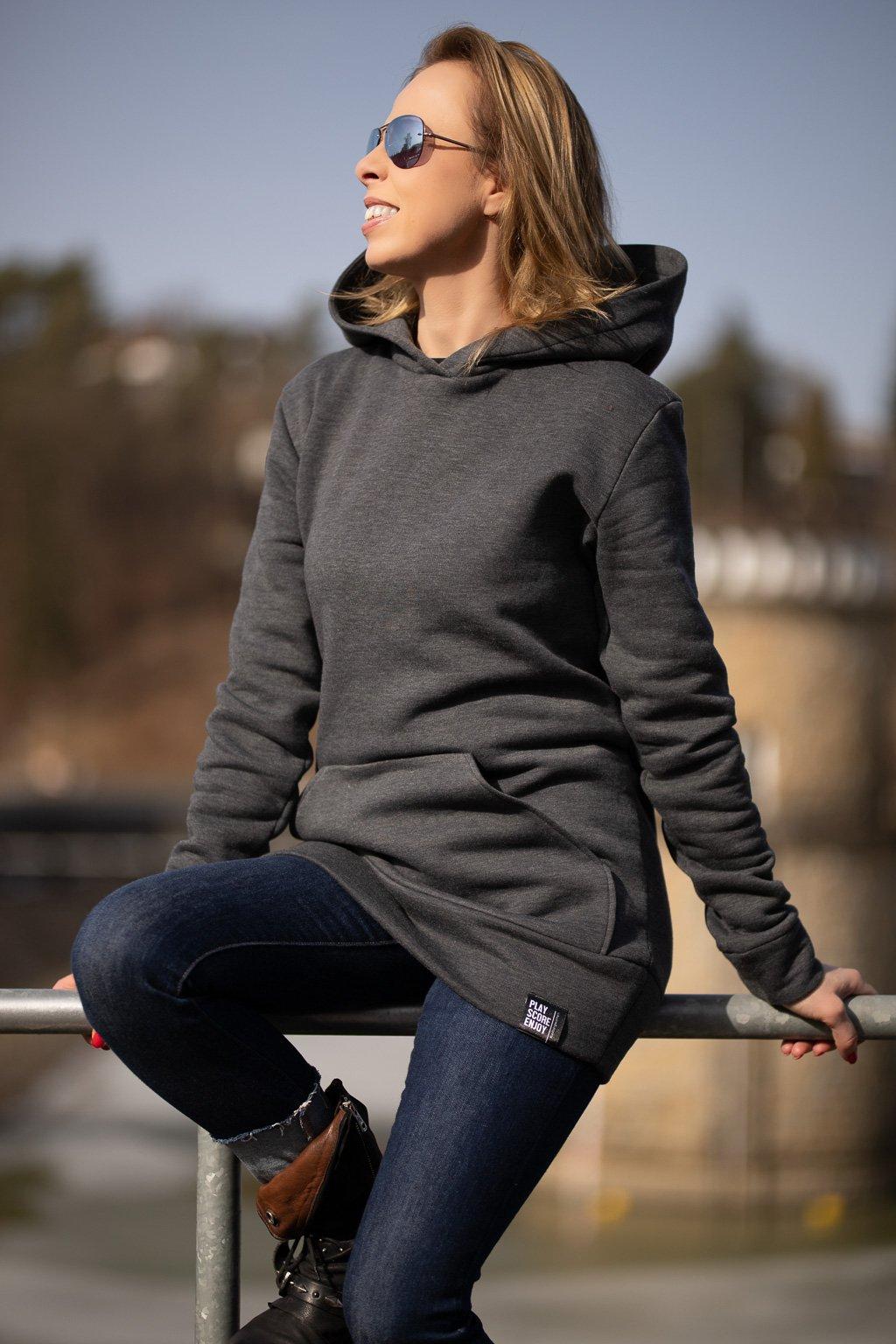 damska bavlnena mikna s kapuci hoodie grey 1 3