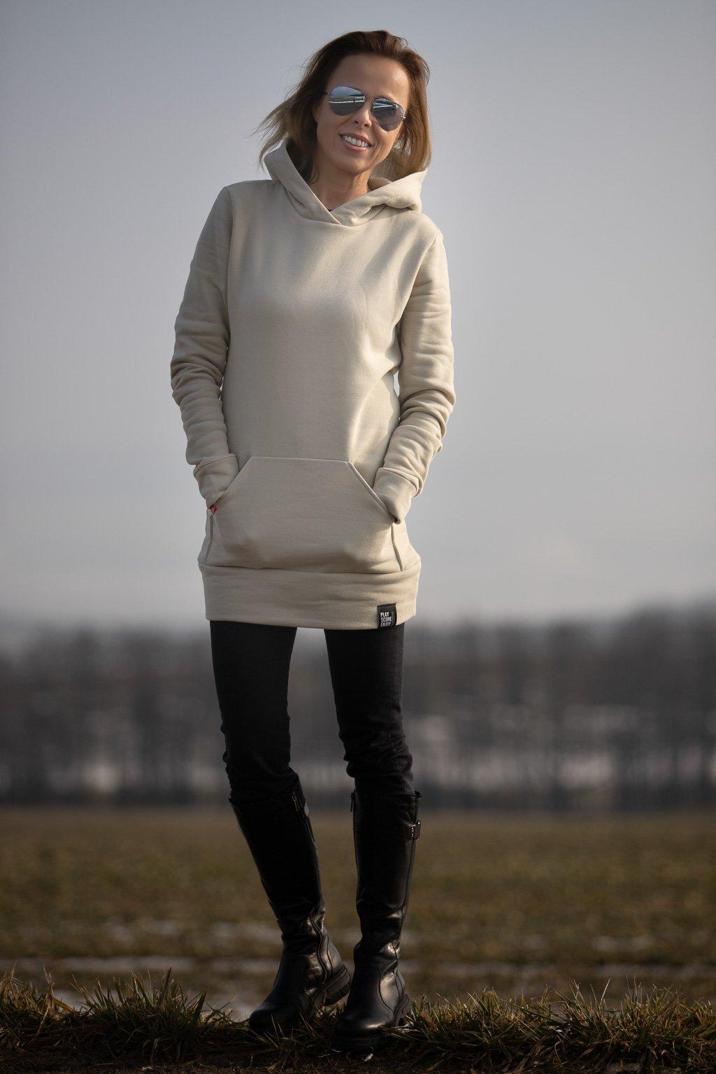 damska bavlnena mikna s kapuci hoodie cream 1 6