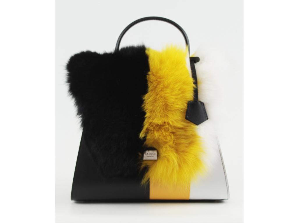 kozena-kabelka-jadise--sabrina-s-kozesinou-cerno-zluto-bila