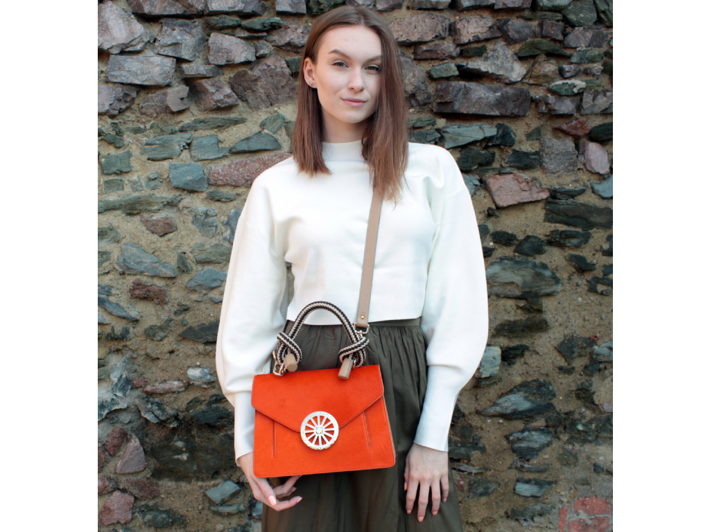 Kožená kabelka JADISE Lola Cavallino oranžová
