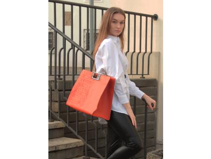 Kožená kabelka Jadise Anna Shopping majolika oranžová/cappuccino