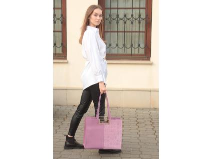 Kožená kabelka Jadise Anna Shopping majolika fialová