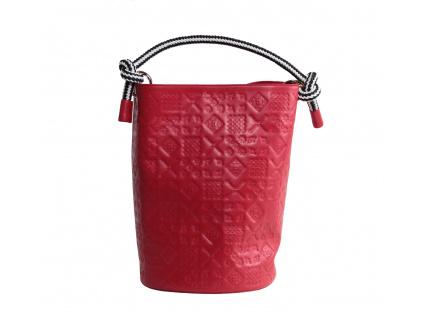 Kožená kabelka JADISE Lea s majolikou červená