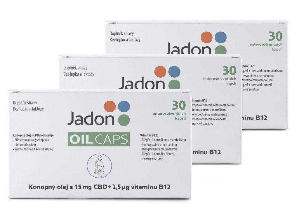 Jadon oil caps CBD kapsle s konopným olejem s 15mg CBD a vitamínem B12 30 kapslí MNOŽSTEVNÍ SLEVA