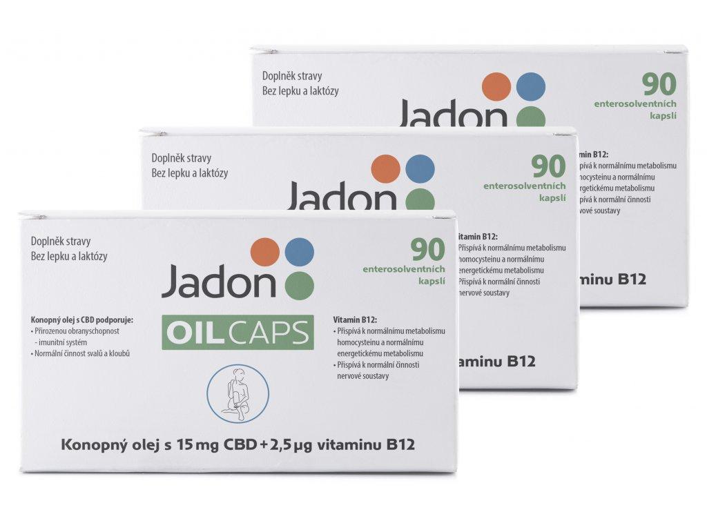 Jadon oil caps CBD kapsle s konopným olejem s 15mg CBD a vitaminem B12 90 kapslí MNOŽSTEVNÍ SLEVA