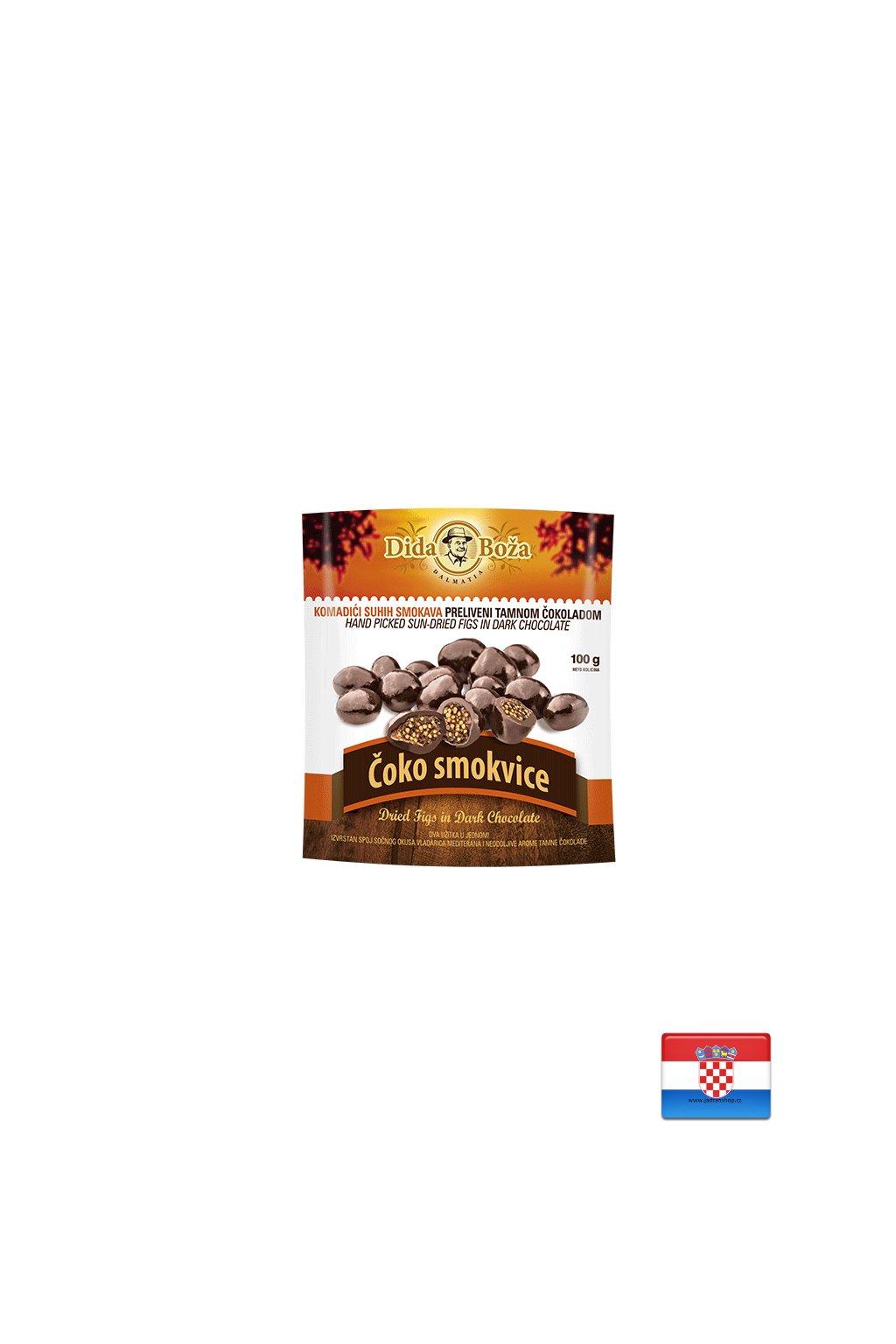 Drażetki figi suszone w gorzkiej czekoladzie 100 g