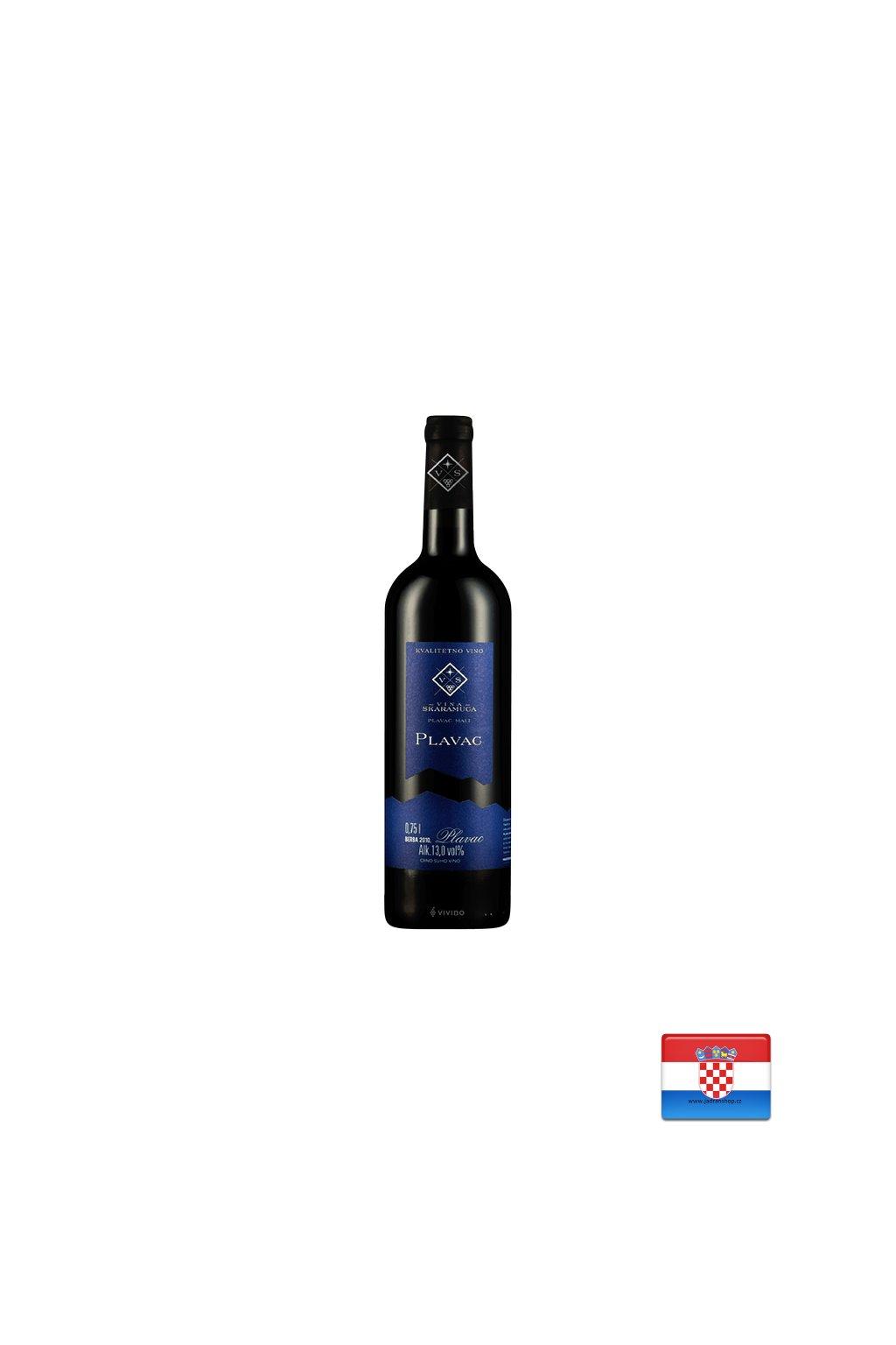 Plavac czerwone wytrawne wino 0,75l (r.2019)  Plavac Skaramuča wino