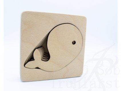 puzzle, velryba, vkládací, dřevěná