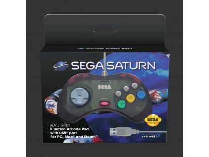 Sega - Retro-Bit SEGA Saturn Controller (Slate Grey, USB)