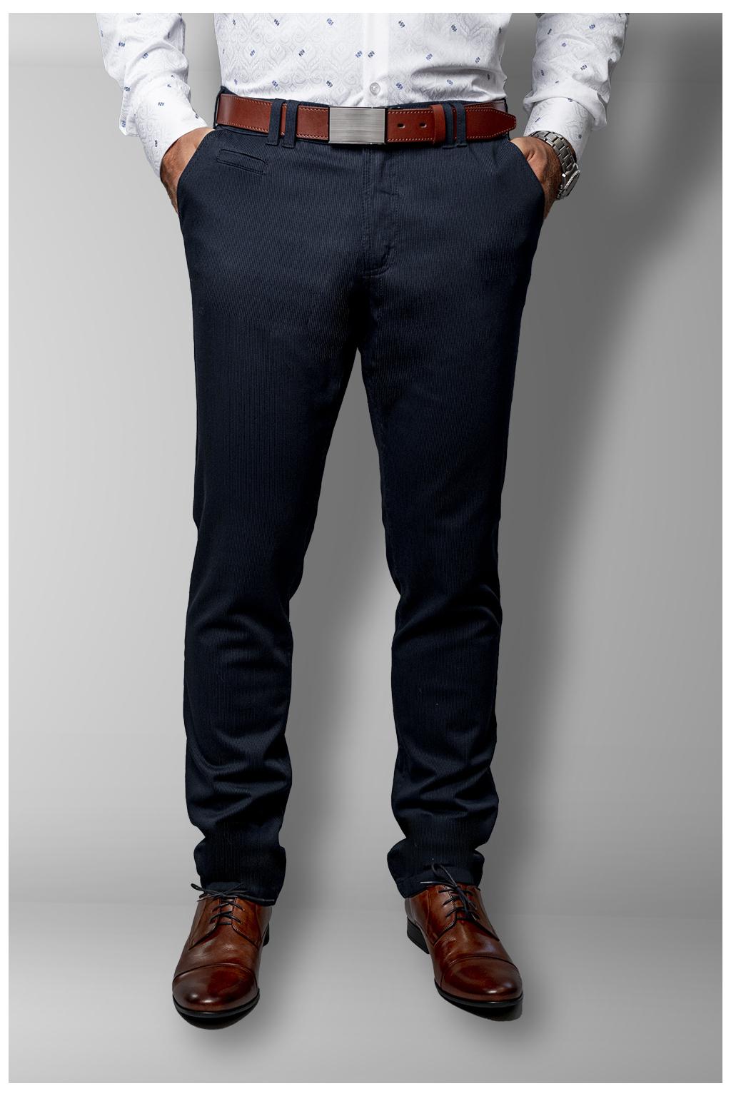 Bavlnené nohavice s jemným pruhovaným vzorom SLIM