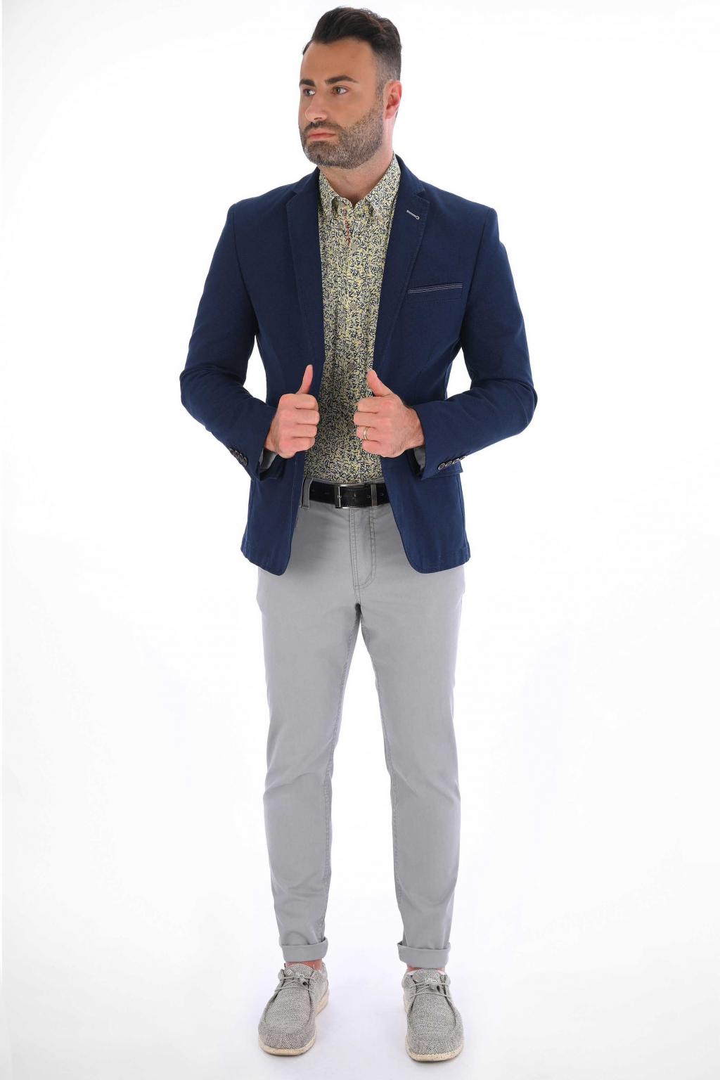 Tmavomodré sako s jemným vzorom ULTRA SLIM strih, bavlna stretch