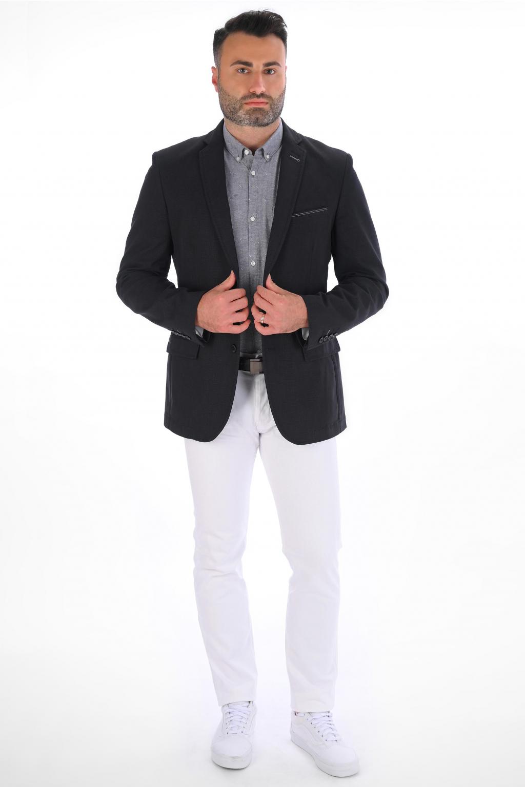 Čierne sako s mikrovzorom SLIM strih, bavlna stretch