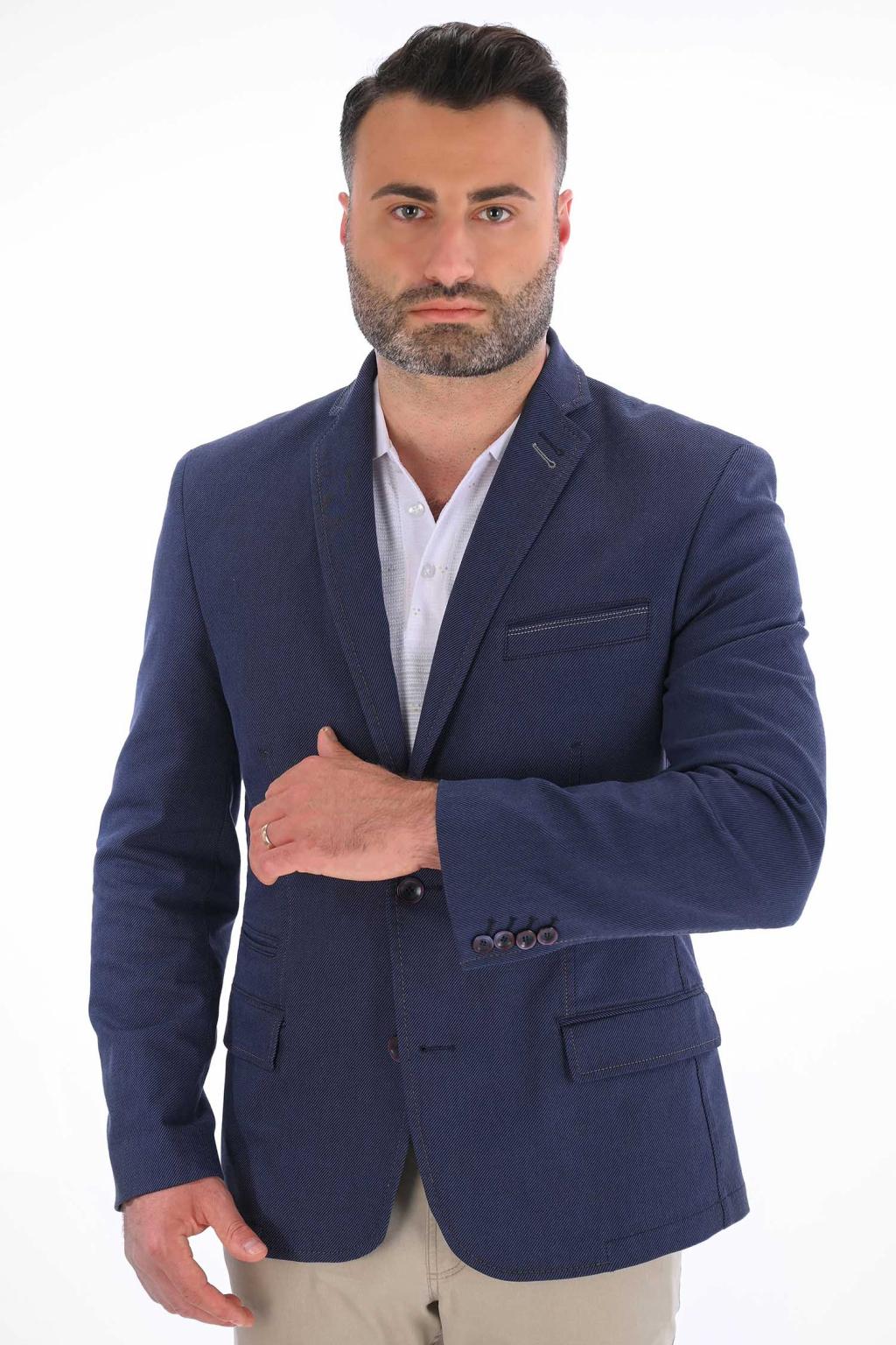 Tmavomodré sako s jemným  vzorom SLIM strih, bavlna stretch