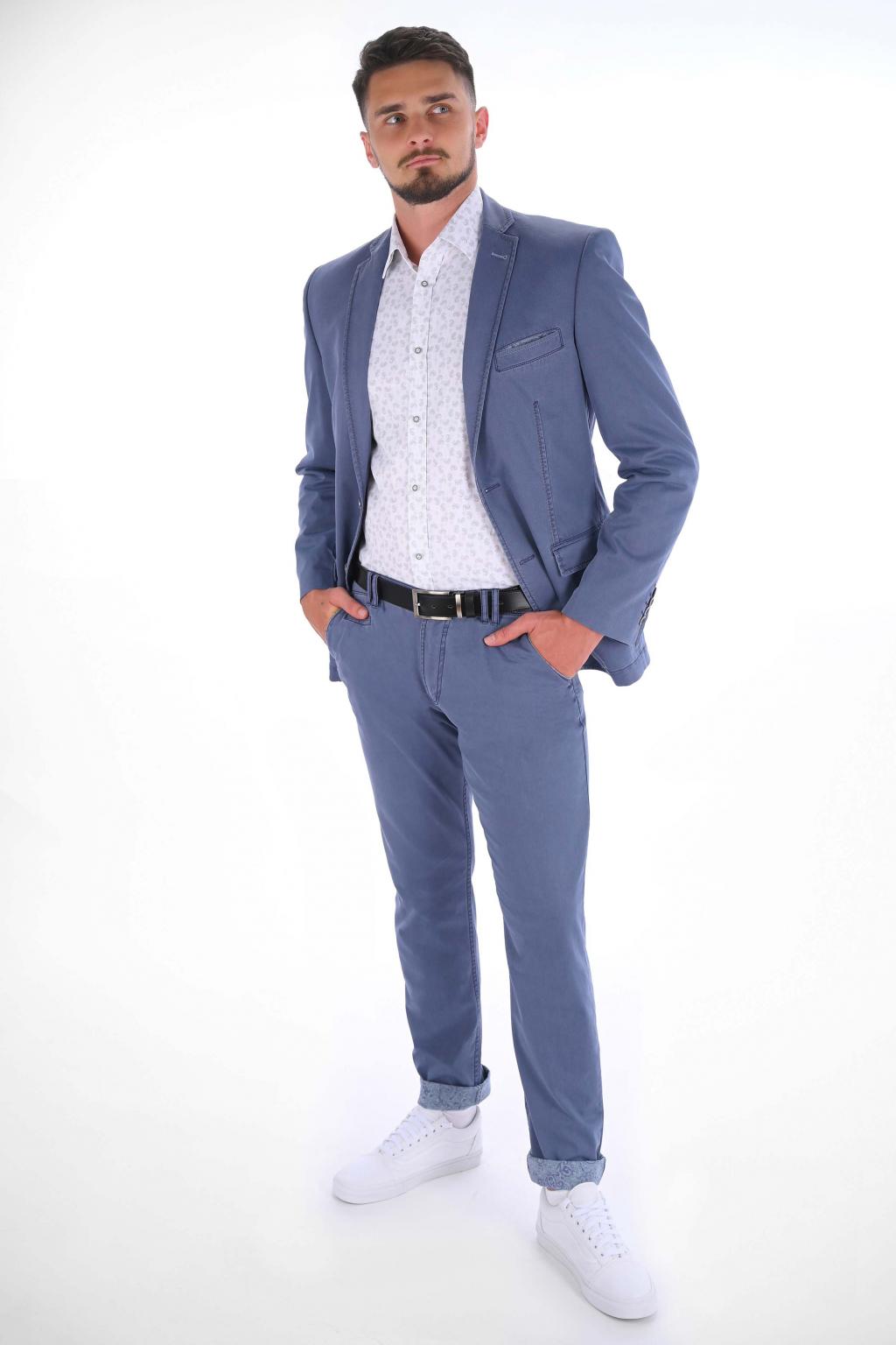 Modrosivé nohavice Chinos  ULTRA SLIM strih, bavlna stretch