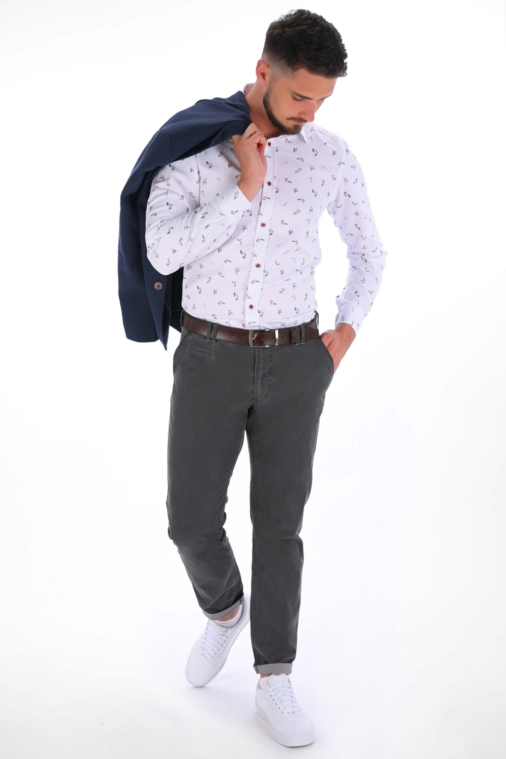 Šedé nohavice Chinos ULTRA SLIM strih, bavlna stretch
