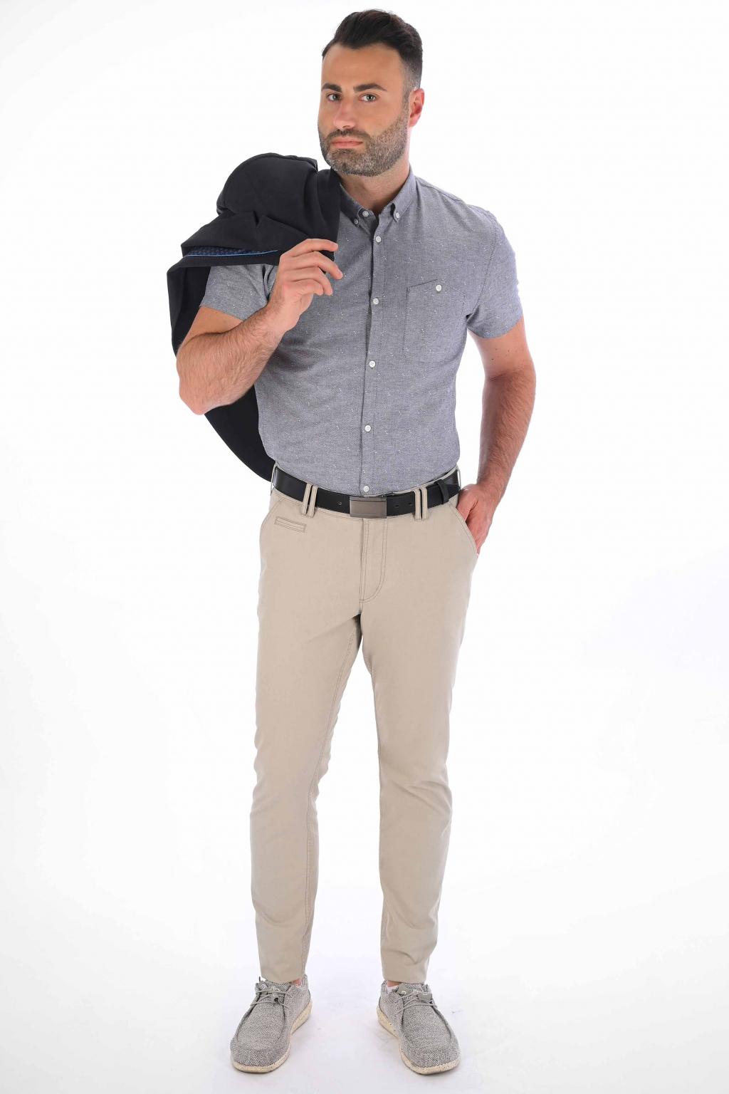 Béžové nohavice Chinos ULTRA SLIM strih, bavlna stretch