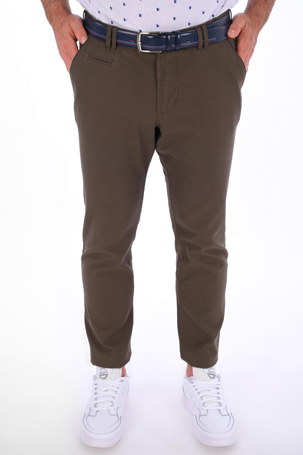 Hnedé nohavice Chinos ULTRA SLIM strih, bavlna stretch