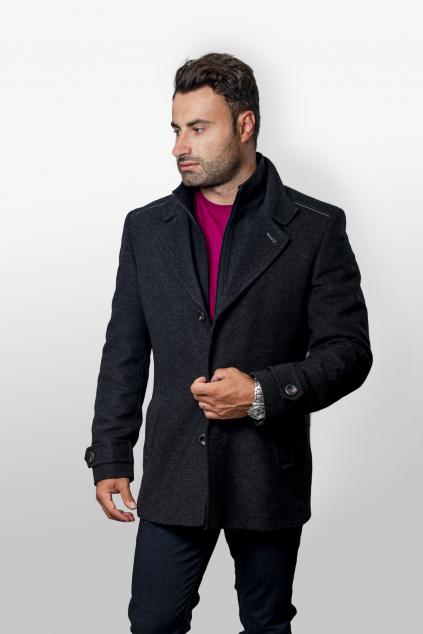 Krátky pánsky kabát s odopínateľným golierom na zips 70% vlna