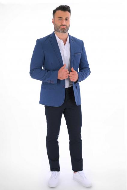 Modré sako s jemným vzorom            SLIM strih, bavlna stretch
