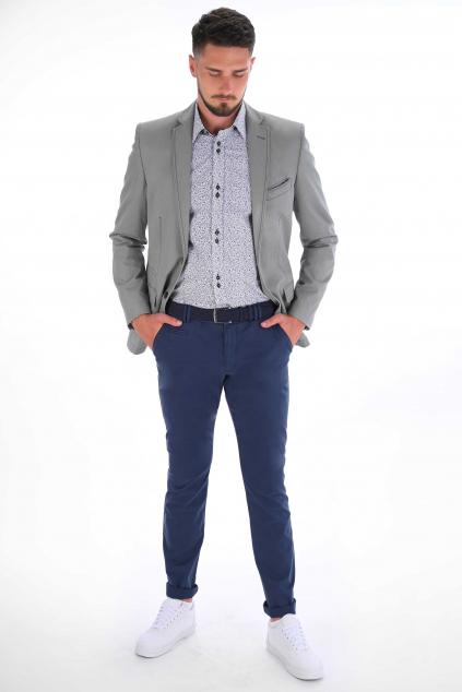 Modré nohavice Chinos  ULTRA SLIM strih, bavlna stretch