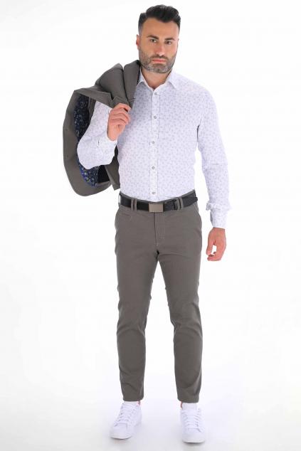 Šedé nohavice s mikrovzorom Chinos ULTRA SLIM strih, bavlna stretch