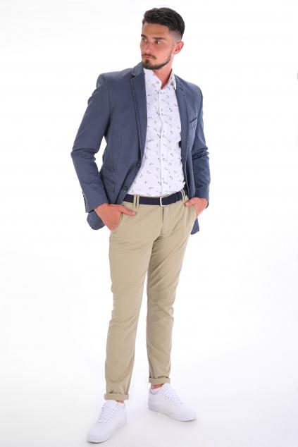 Bežové nohavice Casual ULTRA SLIM strih, bavlna stretch