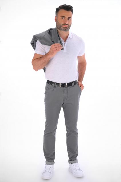 Šedosivé nohavice Chinos ULTRA SLIM strih, bavlna stretch