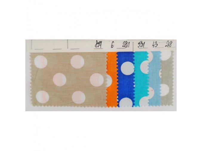 Bavlna 100% - tkanina + tisk - Velké tečky