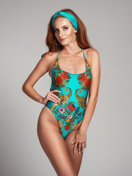 Jednodielne plavky tyrkysový set roses kvetovaný vzor