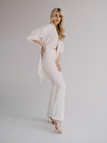 krémovo biele velour nohavice