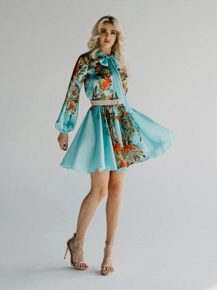 krátke tyrkysové šaty