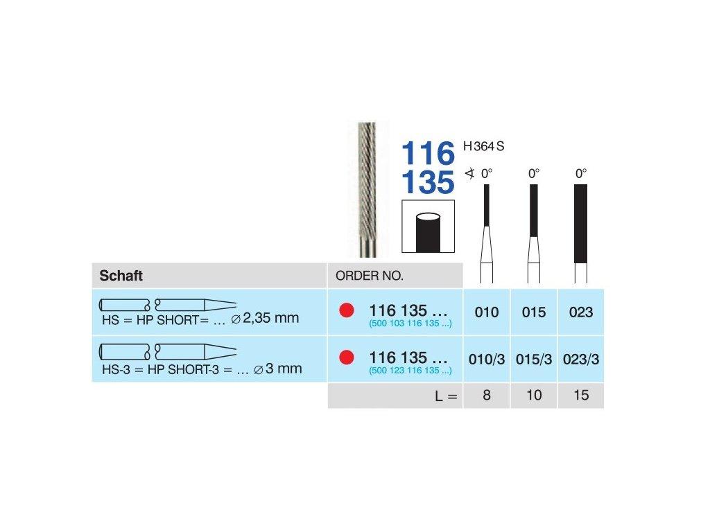 Tvrdokovová fréza - cylindr, 116135, průměr 1,5mm