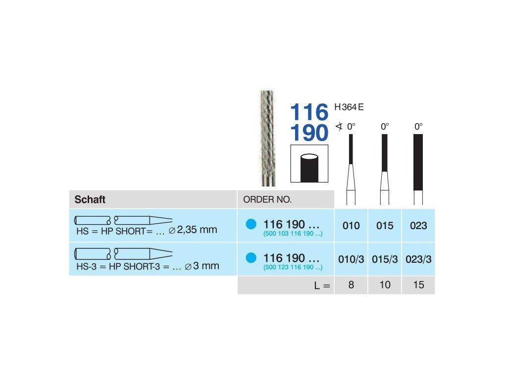 Tvrdokovová fréza - cylindr, 116190, průměr 1,5mm
