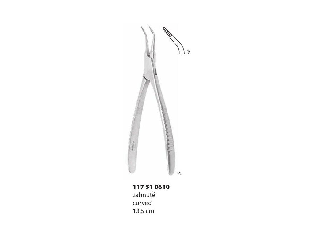 Kleště k odstranění kořen.nástrojů zahnuté; 13,5 cm