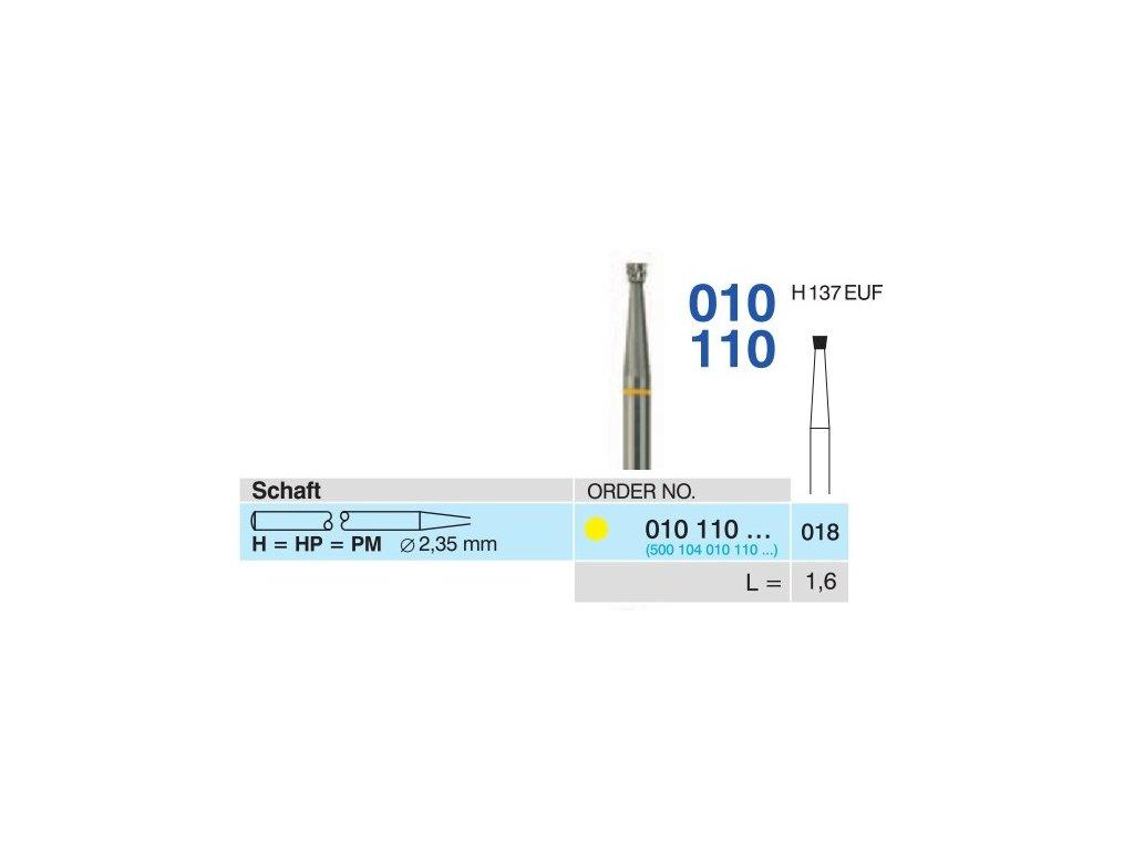 Tvrdokovová fréza - obrácený kónus, 010110, průměr 1,8mm - DOPRODEJ POSLEDNÍCH KUSŮ