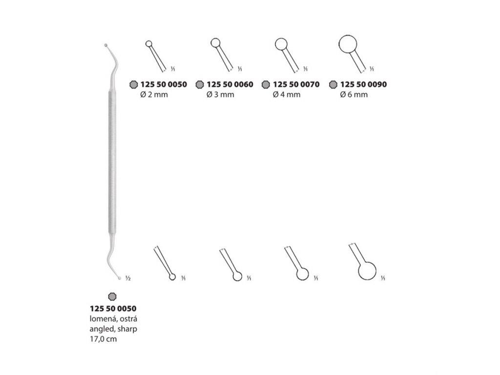 Lžička oboustranná lomená ostrá; 2 mm; 17,0 cm