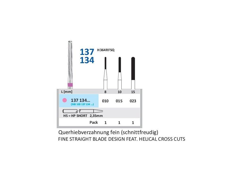 Tvrdokovová fréza - cylindr zakulacený, 137134, průměr 2,3mm