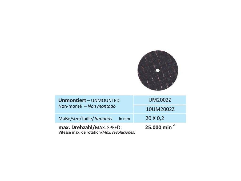Disk na zirkon, velikost 20 x 0,2 mm