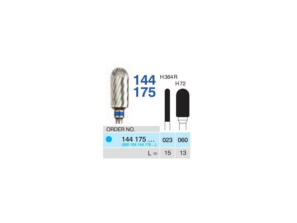 Tvrdokovová fréza - cylindr zakulacený, 144175, průměr 2,3mm
