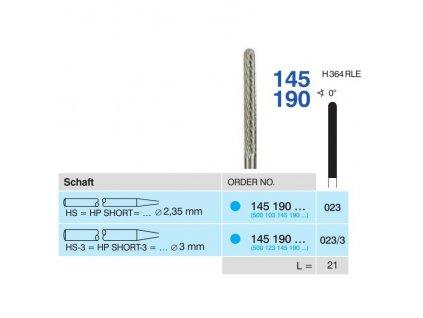 Tvrdokovová fréza - cylindr zakulacený, 145190, průměr 2,3mm