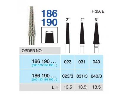Tvrdokovová fréza - kónus, 186190, průměr 3,1mm