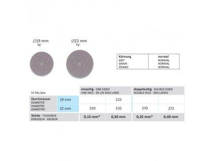 Disk z karbooceli - jednostranný, průměr 19mm, tloušťka 0,30mm