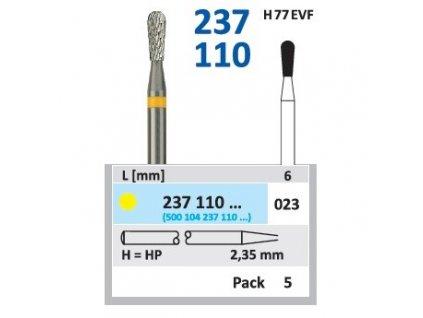 Tvrdokovová fréza - hruška, 237110, průměr 2,3mm