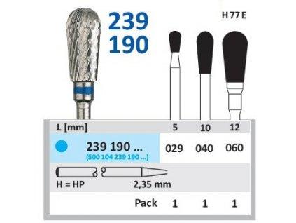 Tvrdokovová fréza - hruška, 239190, průměr 6mm