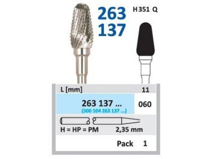 Tvrdokovová fréza - kónus zakulacený, 263137, průměr 6mm